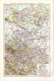Rheinprovinz Westfalen Hessen Landkarte ca. 1881 Original der Zeit