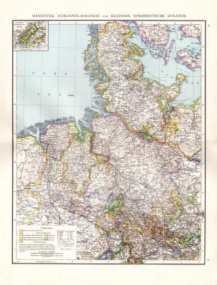 Farbig illustrierte Landkarte von Norddeutschland aus dem Jahr 1881. Gezeigt werden Hannover, Schleswig-Holstein und die kleineren Norddeutschen Staaten im Maßstab 1 zu 1 Million.