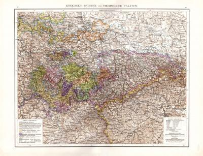 Farbig illustrierte Landkarte aus dem Jahr 1881 zeigt das Königreich Sachsen und die Thüringischen Staaten. Maßstab 1 zu 870.000.