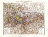 Farbig illustrierte Landkarte aus dem Jahr 1881 zeigt das...