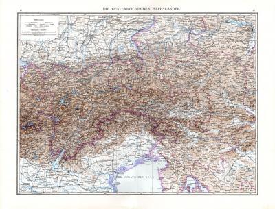 Farbig illustrierte Landkarte aus dem Jahr 1881 zeigt die österreichischen Alpenländer im Maßstab 1 zu 1.125.000.