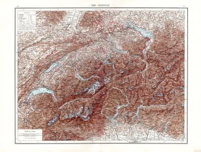 Farbig illustrierte Karte aus dem Jahr 1881 zeigt eine topografische Darstellung der Schweiz im Maßstab 1 zu 800.000.