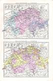 Farbig illustrierte Karte aus dem Jahr 1881 zeigt eine...