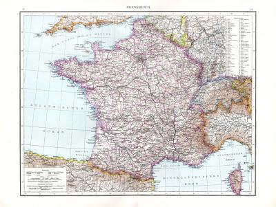 Farbig illustrierte Karte aus dem Jahr 1881 zeigtz Frankreich mit seinen Departements im Maßstab 1 zu 3 Millionen.