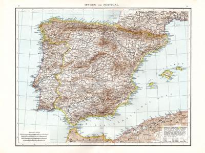 Farbig illustrierte Karte aus dem Jahr 1881 zeigt die Ibersiche Halbinsel mit den Königreichen Spanien und Portugal im Maßstab 1 zu 3 Millionen.
