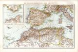 Spanien Portugal Landkarte ca. 1881 Original der Zeit