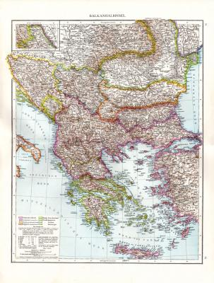 Farbig illustrierte Karte aus dem Jahr 1881 zeigt die Balkanhalbinsel und Griechenland im Maßstab 1 zu 3 Millionen.