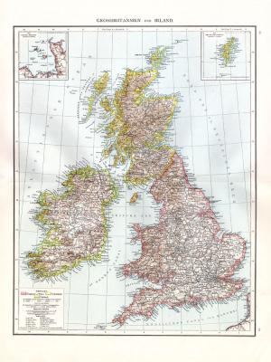 Farbig illustrierte Karte aus dem Jahr 1881 zeigt Großbritannien und Irland im Maßstab von 1 zu 2.500.000.  Ausschnitte zeigen die Kanalinseln und die Shetlands.