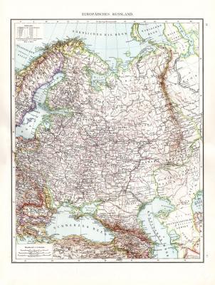 Farbig illustrierte Karte aus dem Jahr 1881 zeigt die europäischen Teile Russlands zur Zarenzeit. Maßstab 1 zu 8.700.000.