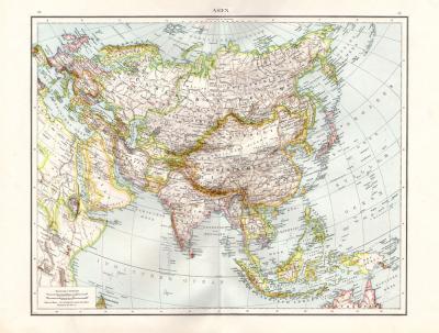 Farbig illustrierte Karte aus dem Jahr 1881 zeigt Asien im Maßstab 1 zu 30.000.000.