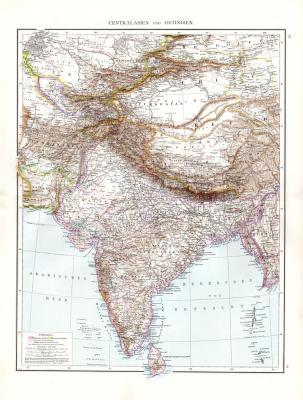 Farbig illustrierte Landkarte aus dem Jahr 1881 zeigt Centralasien und Ostindien sowie das arabische Meer und den Golf von Bengalen im Maßstab 1 zu 10 Millionen.