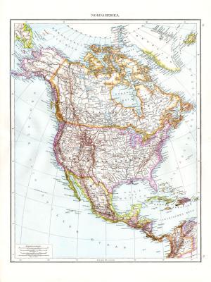 Farbig illustrierte Karte aus dem Jahr 1881 zeigt den nördlichen Teil Amerikas im Maßstab 1 zu 20 Millionen.