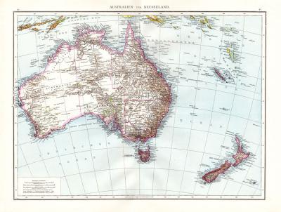 Farbig illustrierte Karte aus dem Jahr 1881 zeigt Australien udn Neuseeland im Maßstab 1 zu 13.500.000.