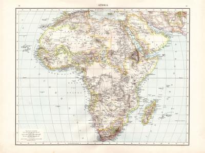 Farbig illustrierte Karte aus dem Jahr 1881 zeigt Afrika im Maßstab 1 zu 23 Millionen.