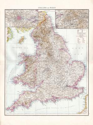 Farbig illustrierte Karte aus dem Jahr 1881 zeigt England und Wales im Maßstab 1 zu 1.500.000. Ausschnitte zeigen die Umgebung von Manchester und London.