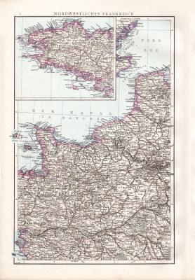 Farbig illustrierte Karte aus dem Jahr 1881 zeigt den nordwestlichen Teil Frankreichs. Ausschnitt zeigt die Bretagne.