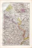 Nordwestliches Frankreich Landkarte ca. 1881 Original der Zeit