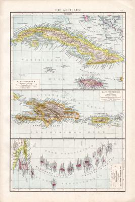 Farbig illustrierte Karte aus dem Jahr 1881 zeigt das nordwestliche Afrika inklusive Kolonien der europäischen Staaten. Ausschnitt zeigt die Kapverdischen Inseln. Maßstab 1 zu 10 Millionen.