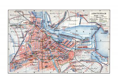 Amsterdam historischer Stadtplan Karte Lithographie ca. 1902