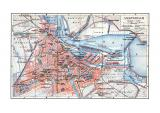 Farbige Lithographie eines Stadtplans von Amsterdam aus dem Jahr 1902 im Maßstab 1 zu 40.000.