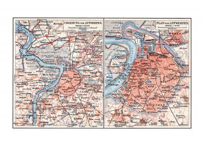Antwerpen historischer Stadtplan Karte Lithographie ca. 1905