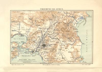 Umgebung von Athen historischer Stadtplan Karte Lithographie ca. 1902