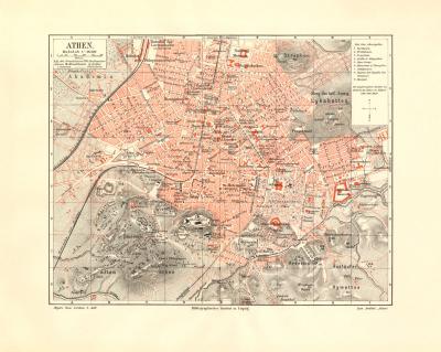 Athen historischer Stadtplan Karte Lithographie ca. 1902