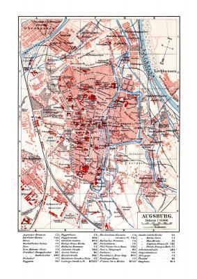 Augsburg historischer Stadtplan Karte Lithographie ca. 1902