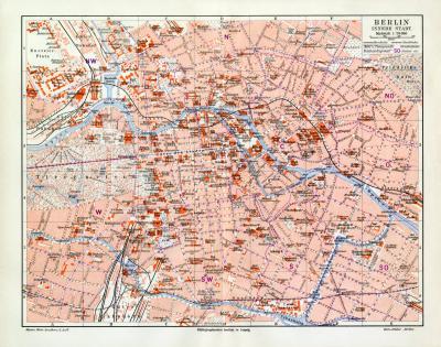 Berlin historischer Stadtplan Karte Lithographie ca. 1902