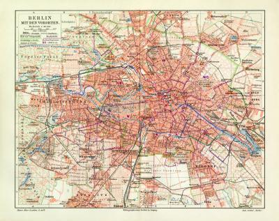 Berlin mit Vororten historischer Stadtplan Karte Lithographie ca. 1902