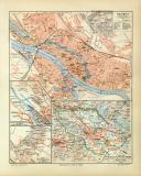 Farbige Lithographie eines Stadtplans von Bremen aus dem...