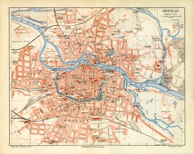 Breslau historischer Stadtplan Karte Lithographie ca. 1903