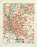 Budapest historischer Stadtplan Karte Lithographie ca. 1903