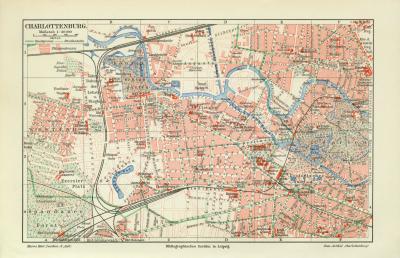 Charlottenburg historischer Stadtplan Karte Lithographie ca. 1903
