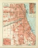 Farbige Lithographie eines Stadtplans von Chicago aus dem...