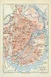 Farbige Lithographie eines Stadtplans von Danzig / Gdansk...