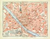 Florenz historischer Stadtplan Karte Lithographie ca. 1904