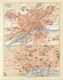 Farbige Lithographie eines Stadtplans von Frankfurt a.M....