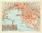 Genua historischer Stadtplan Karte Lithographie ca. 1904