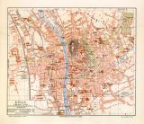 Graz historischer Stadtplan Karte Lithographie ca. 1904