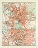 Hannover historischer Stadtplan Karte Lithographie ca. 1906