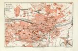 Kassel historischer Stadtplan Karte Lithographie ca. 1905
