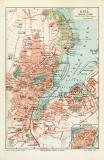 Kiel historischer Stadtplan Karte Lithographie ca. 1905