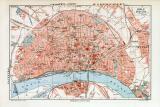 Köln historischer Stadtplan Karte Lithographie ca. 1905