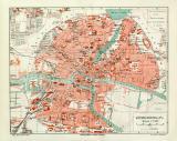 Farbige Lithographie eines Stadtplans von Königsberg in...
