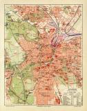 Leipzig historischer Stadtplan Karte Lithographie ca. 1905