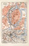 Lübeck historischer Stadtplan Karte Lithographie ca. 1905