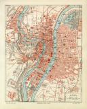 Lyon historischer Stadtplan Karte Lithographie ca. 1905