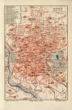 Madrid historischer Stadtplan Karte Lithographie ca. 1906