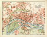 Magdeburg historischer Stadtplan Karte Lithographie ca. 1906